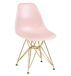 Стул Eames LMZL-PP638А светло-розовый пластик, ножки золото