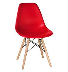Стул Eames LMZL-PP638 красный пластик, ножки светлый бук