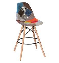Стул барный Eames LMZL-PP638G Patchwork ткань мозаика, ножки светлый бук