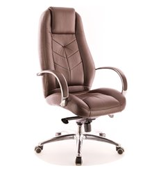 Кресло EVERPROF DRIFT Full AL M Brown для руководителя, натуральная кожа, цвет коричневый