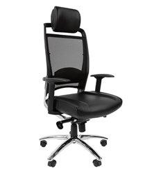 Кресло CHAIRMAN 281 хром для руководителя, кожа/сетка, цвет черный