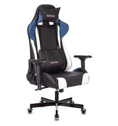 Кресло Zombie VIKING TANK BLUE игровое, экокожа, цвет черный/синий/белый
