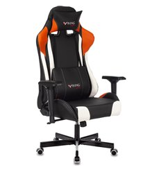 Кресло Zombie VIKING TANK ORANGE игровое, экокожа, цвет черный/оранжевый/белый