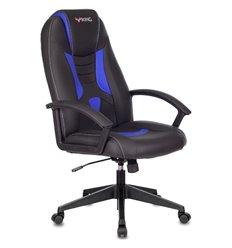 Кресло Zombie VIKING-8/BL+BLUE игровое, экокожа, цвет черный/синий