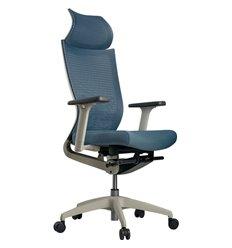 Кресло Schairs ZEN2 - M01W для руководителя, эргономичное, сетка/ткань, цвет голубой