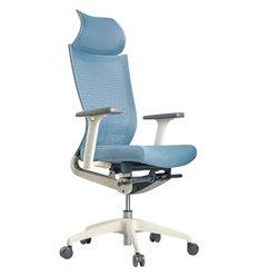 Кресло Schairs ZEN2 - M01W для руководителя, эргономичное, сетка/ткань, цвет серебристо-голубой