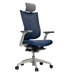 Кресло Schairs TONE-M01W blue для руководителя, эргономичное, сетка/ткань, цвет синий