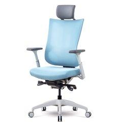 Кресло Schairs TONE-M01W silver blue для руководителя, эргономичное, сетка/ткань, цвет серебристо-голубой