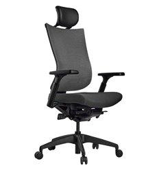 Кресло Schairs TONE-M01B grey для руководителя, эргономичное, сетка/ткань, цвет серый