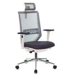 Кресло Бюрократ MC-W612N-H/DG/417G для руководителя, сетка-ткань, цвет серый, белый пластик