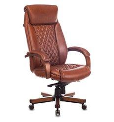 Кресло Бюрократ T-9924WALNUT/CHOK для руководителя, дерево, кожа, цвет светло-коричневый