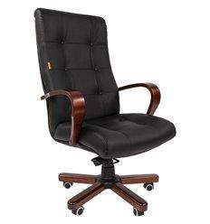 Кресло CHAIRMAN 424 WD кожа черная для руководителя, дерево