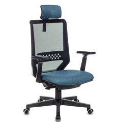 Бюрократ EXPERT BLUE, сетка/ткань, цвет черный/синий
