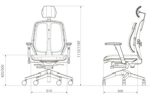 Размер кресла DUOREST Alpha A80H
