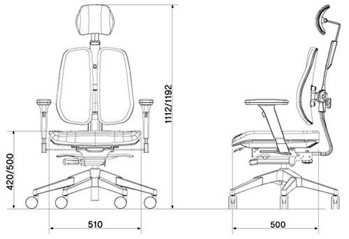 Размер кресла DUOREST Alpha A30H