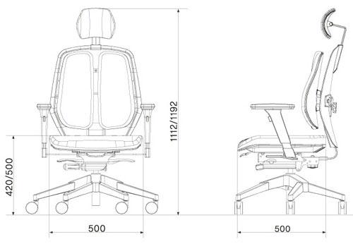 Размер кресла DUOREST Alpha A50H