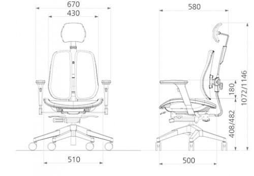Размер кресла DUOREST Alpha A60H