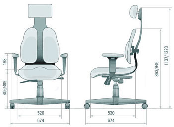 Размер кресла DUOREST Cabinet DR-120