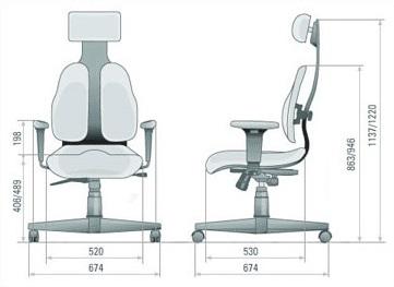 Размер кресла DUOREST Cabinet DR-130