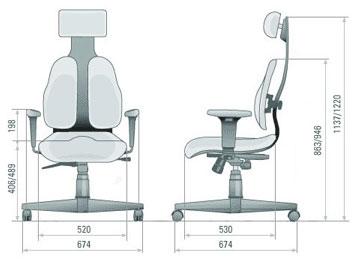 Размер кресла DUOREST Cabinet DR-140
