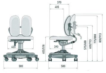 Размер кресла DUOREST Kids DR-218A