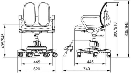 Размер кресла DUOREST Kids DR-280D