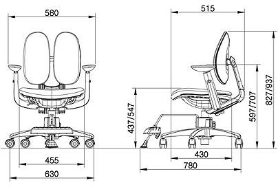 Размер кресла DUOREST Kids ORTO ai-50 Mesh