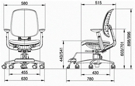 Размер кресла DUOREST DuoFlex Junior MESH