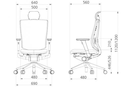 Размер кресла DUOREST DuoFlex Leather BR-100L