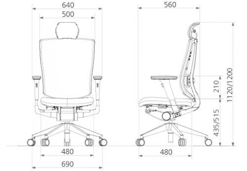Размеры кресла DUOREST DuoFlex Sponge B-100S